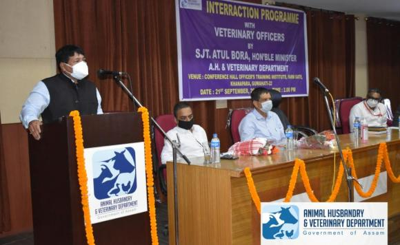 Hon'ble Animal Husbandry & Veterinary Minister Sri Atul Bora interacts with the newly appointed Veterinary Officers